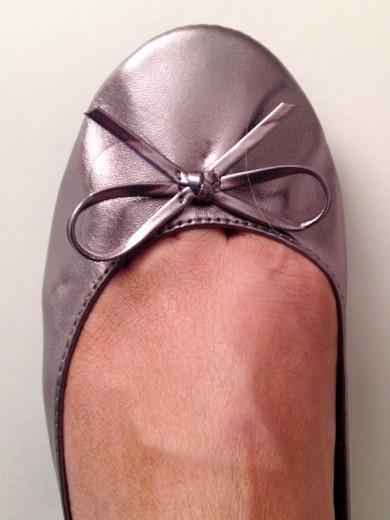 Pretty Pewter Portable Wedding Ballet Flats